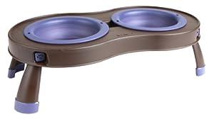 Dexas Popware for Pets Elevated Tandem Feeder Bowls with Legs, Medium, Brown/Purple