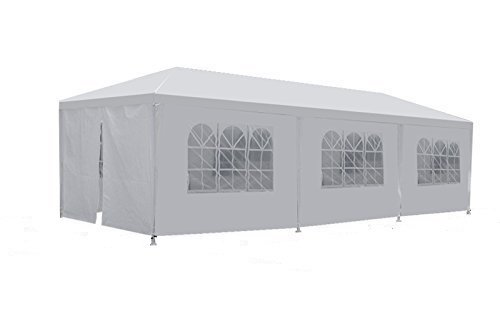 Zeny® 10'x30' Outdoor Camping White Party Wedding Tent Gazebo Canopy with Sidewalls Easy Set Gazebo BBQ Pavilion Canopy Cater Events W/ 8 Walls(White, 10*30)