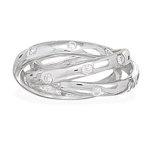 Sterling Silver Three Interlocking Rhodium Plated Bands with CZ's / Size 9