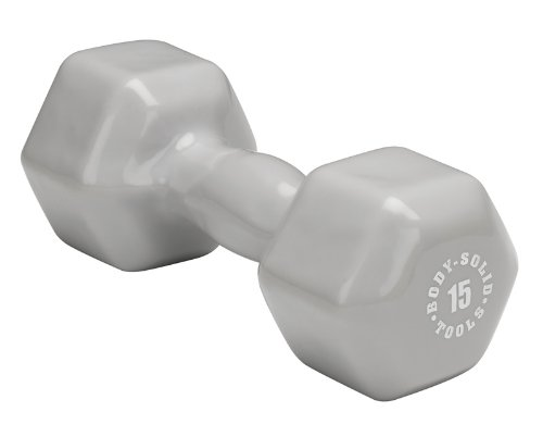 31khaFk0ysL Body Solid Tools BSTVD15 15 Pound Vinyl Dumbbell (Gray)