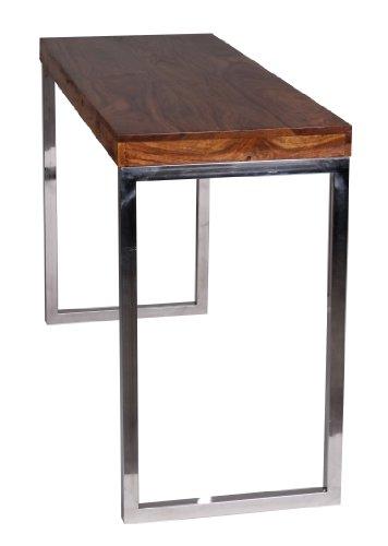 wohnling konsolentisch massivholz sheesham konsole mit metallbeinen schreibtisch 120 x 45 cm. Black Bedroom Furniture Sets. Home Design Ideas
