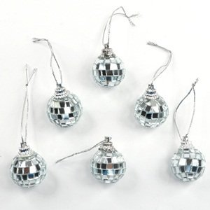 Cosmos ® 6 Pcs 1 Inch Disco Ball Mirror Party Christmas Xmas Tree Ornament Decoration With Cosmos Fastening Strap