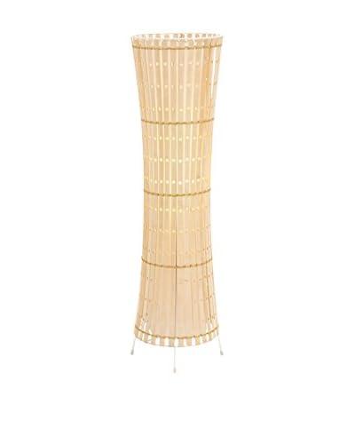 Metal & Wood Floor Lamp, White