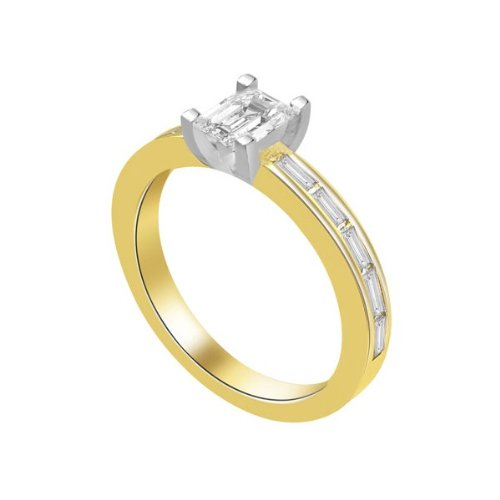 0.60 carat Diamond Engagement Ring for Women. G/SI1 Solitaire Emerald Cut with Shoulder set Diamonds 18ct Yellow & White Gold