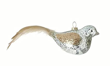 Blue Mercury Glass Bird with Embellished Gold Glitter Wings and Taupe Feather Tail Christmas Ornament by Silent Luxury