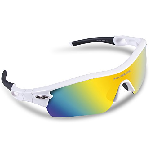 RIVBOS TR 90 Frame RB0805 Polarized Sports Sunglasses Sun Glasses with 5 Set Interchangeable Lenses for Men Women Cycling Baseball(UpGrade TR White) (Womens Sun Shades compare prices)