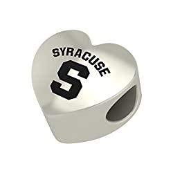Syracuse Orangemen Heart Bead Fits Most Pandora Style Charm Bracelets