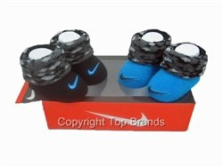 Nike 2pair Newborn Infant Booties Blue/ Black 0-6 Months