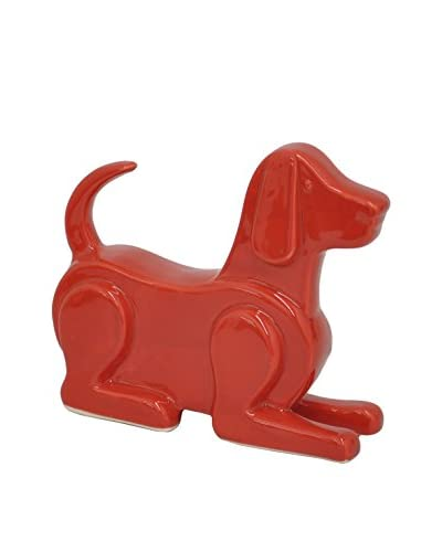 Three Hands Ceramic Sitting Dog, Red