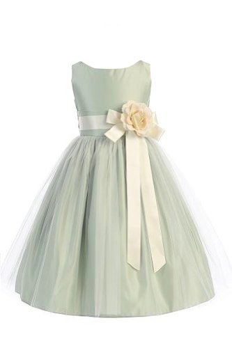 Vintage Satin Tulle Special Occasion Flower Girl Dress Sage 7 front-1038939