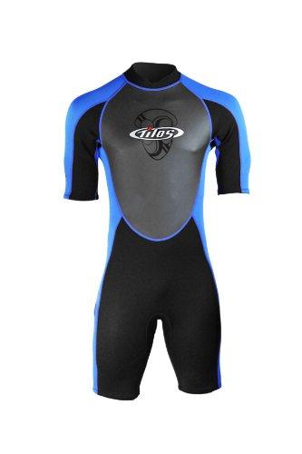 New men s tilos 2mm skin chest shorty wetsuit black blue - Apex dive gear ...
