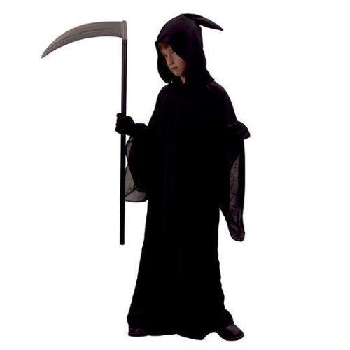 Boys 7-9 Halloween Black Reaper Robe & Hood Fancy Dress Costume Medium 7-9 yrs