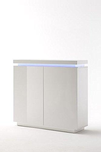 Kommode, Hochkommode 2 Turen + Beleuchtung, Hochglanz weiss, LED Farbwechsel