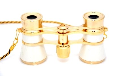 Finissimo Optics 3X25 White Opera Glasses With Chain Necklace / Theater Binoculars / With Gold Trim