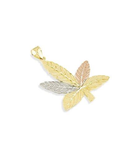 14k Yellow White Rose Gold Maple Marijuana Leaf Pendant
