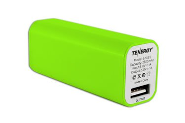 Tenergy 2600mAh Lipstick Portable Power Bank (Green)