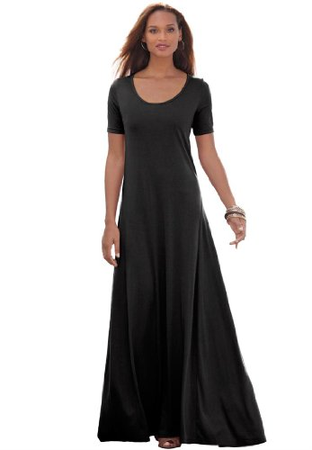 Jessica London Women's Plus Size Tee Shirt Maxi Dress Black,16