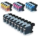 20 Pack Compatible Brother LC123 Ink Cartridges(4 Sets plus 4 black) for use with Brother DCP-J132W, DCP-J152W, DCP-J172W, DCP-J552DW, DCP-J752DW, DCP-J4110DW, MFC-J245, MFC-J470DW, MFC-J650DW, MFC-J870DW, MFC-J2310, MFC-J2510, MFC-J4410DW, MFC-J4510DW, MFC-J4610DW, MFC-J4710DW, MFC-J6520DW, MFC-J6720DW, MFC-J6920DW. Ink Cartridges for inkjet printers by wantmoreink