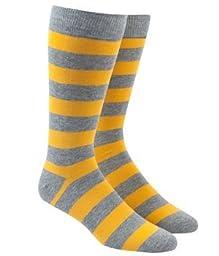Super Stripe Gray and Yellow Men\'s Cotton Blend Dress Socks, size 7-12 men\'s shoe