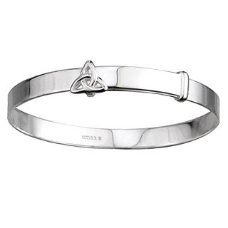 Sterling Silver Celtic Kids Trinity Knot Adjustable Bangle Bracelet - Made in Ireland