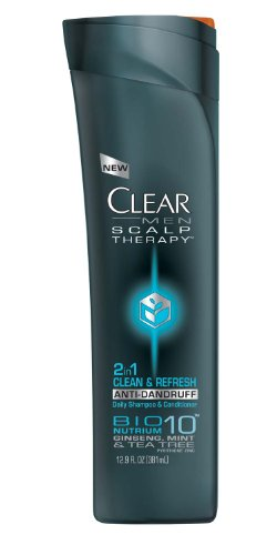 CLEAR MEN SCALP THERAPY 2 In 1 Anti-Dandruff Shampoo And Conditioner Clean & Refresh 12.9 Fluid Ounce