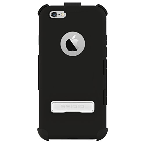 Seidio Capsa Touchview Case With Metal Kickstand And Holster Combo For Apple Iphone 6 - Retail Packaging - Black