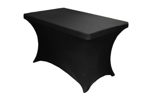 4 Feet Rectangular Spandex Fitted Elastic Stretchable Tablecloth - Black by LA Linen