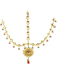 Dilan Jewels PURE Collection Gold Plated Kundan Multicolour Matha Patti Headgear For Women