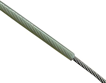 Loos Stainless Steel 302/304 Wire Rope, Nylon Coated, 7x19 Strand Core, Natural