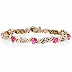 Gold Tone over Sterling Silver Created Pink Sapphire & Diamond Accent San Marco Bracelet
