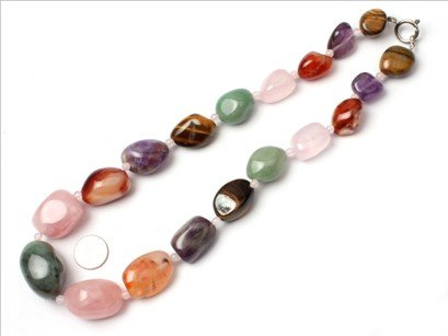 16--30mm graduated mixed stone beads strand necklace 18