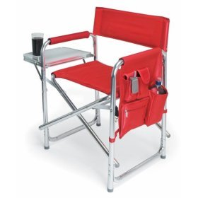 Picnic Time Sports Chair with Table and Pockets - Red