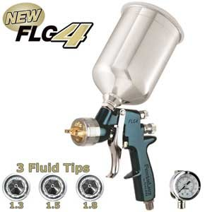 Devilbiss Finishline FLG-654 HVLP Spray Paint Gun 3 tip