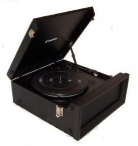 1960's / 1970's Retro Nostalgic Music Centre: Steepletone SRP1R-11 Black Music Centre with turntable plays 33 / 45  &  78's + MW / FM Radio - Black Leatherette Finish