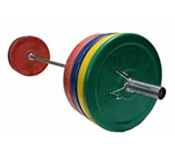 Troy VTX 350lb Colored Olympic Rubber Bumper Plates Weight Bar and Bumper Set for Crossfit with Spring Collars (Free Shipping)
