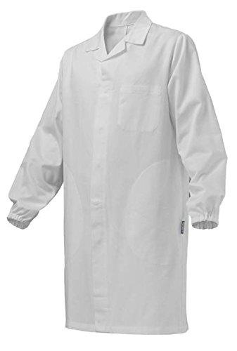 SIGGI - Camice uomo per alimentarista con bottoni a pressione. In tessuto di cotone gabardine 100% sanfor colore bianco. Peso al mq. gr. 205 - Taglia: XL