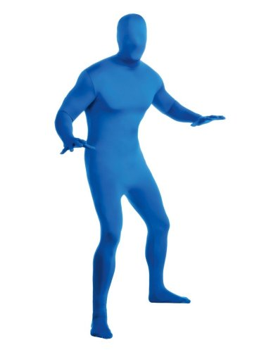 Mens Blue 2nd Skin Suit Adult Full Body Stretch Jumpsuit