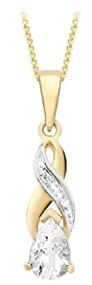 """Carissima 9ct Yellow Gold 0.01ct Diamond and Aquamarine Cross-over Pendant on Curb Chain Necklace 46cm/18"""""""