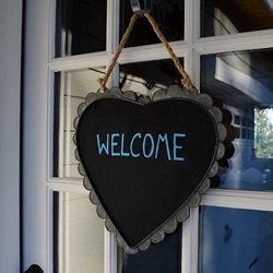 Metal Heart Chalkboard with Scalloped Edge and Twine for Hanging