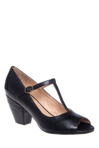 Phoebe Mid Heel T-Strap Open Toe Pump