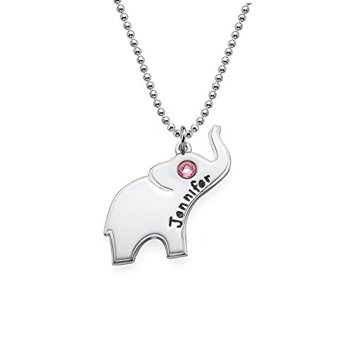 Lucky Elephant Necklace With Engraving - Custom Made With Any Name! (16 Inches, October-Rose Quartz)