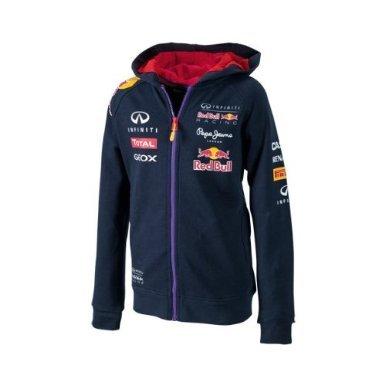 RBR - Felpa ufficiale per bambino della squadra Infiniti Red Bull Racing, Formula 1, con cappuccio e cerniera lampo, colore: Blu