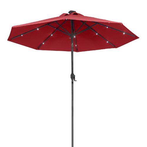 Led Patio Umbrella Reviews: Sunergy 50140838 9ft Solar Powered Metal Patio Umbrella W