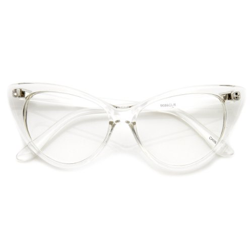 Super Cat Eye Glasses Vintage Inspired Mod Fashion Clear Lens Eyewear (Clear)