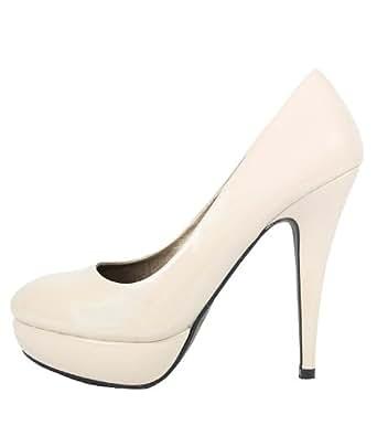 Schuhe Pumps, Damen, Plateau, 10235, beige, Gr. 38