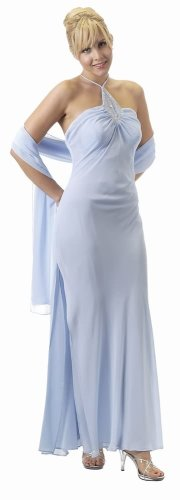 Buy #5448 – BEST SELLER – Formal Evening Gown. Chiffon Bead Dress – (Available in 3 colors – Baby Blue, Black, Red XS to 3XL)