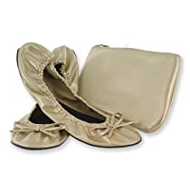 Sidekicks Foldable Ballet Flats Shoes w/ Carrying Case GOLD LARGE