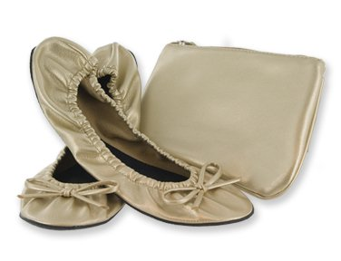 Sidekicks Foldable Ballet Flats Shoes W/ Carrying Case Gold Small