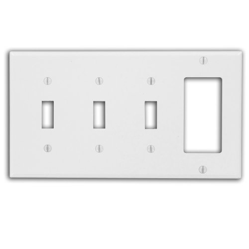 Leviton P326-W 4-Gang 3-Toggle Decora/Gfci Device Combination Wallplate, White