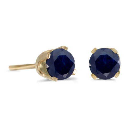 4-mm-Round-Natural-Sapphire-Stud-Earrings-in-14k-Yellow-Gold